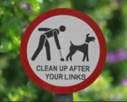Graphic showing a Humn and a Dog that says Clean-up After your Links
