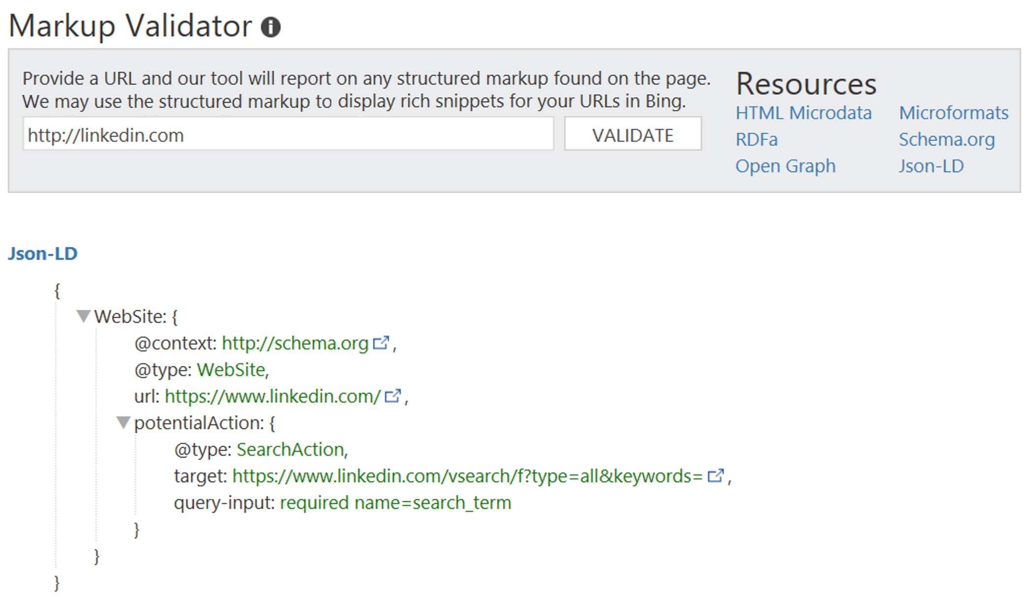JSON-LD Support Added to Bing Markup Validator