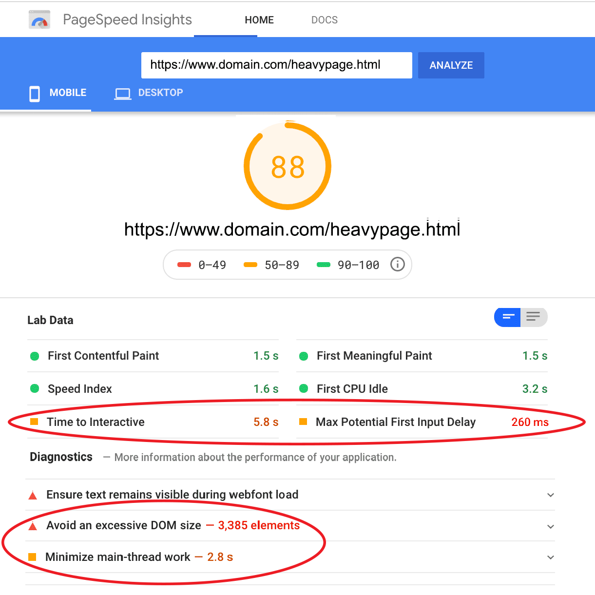 Page Speed Insights Results