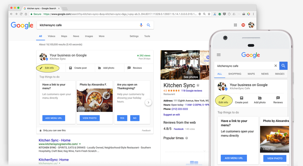 Manage Your Google Local Listing Directly from the Search Results